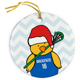 Girls Lacrosse Porcelain Ornament Christmas Lacrosse Chick with Jersey