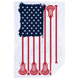 Guys Lacrosse Premium Blanket - American Flag