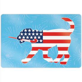 """Field Hockey 18"""" X 12"""" Aluminum Room Sign - Patriotic Flick The Field Hockey Dog"""