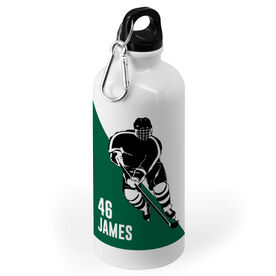 Hockey 20 oz. Stainless Steel Water Bottle - Personalized Guys Hockey Player Silhouette