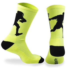 Guys Lacrosse Woven Mid Calf Socks - Player (Neon Yellow/Black)