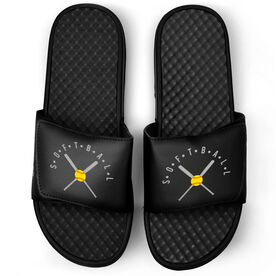 Softball Black Slide Sandals - Softball With Crossed Bats