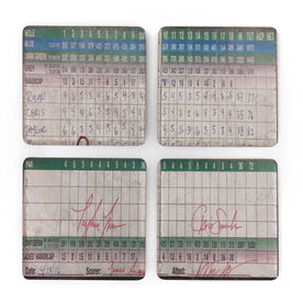 Golf Stone Coasters Set of Four - Score Card