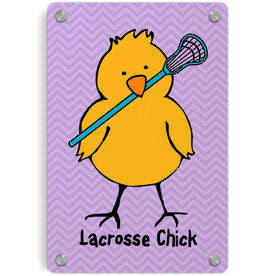 Girls Lacrosse Metal Wall Art Panel - Lacrosse Chick Chevron