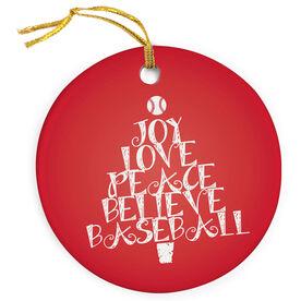 Baseball Porcelain Ornament Word Christmas Tree