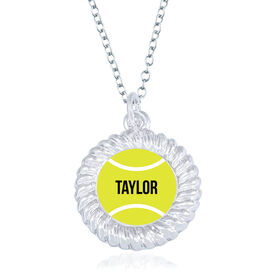 Tennis Braided Circle Necklace - Ball With Name