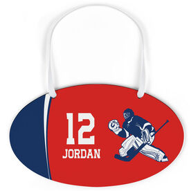 Hockey Oval Sign - Personalized Hockey Goalie with Big Number