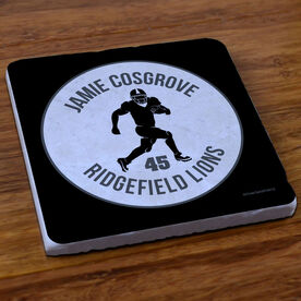 Football Stone Coaster Personalized Football Team with Running Back Silhouette