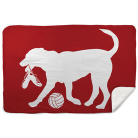 Volleyball Sherpa Fleece Blanket Holly the Volleyball Dog