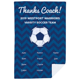Soccer Premium Blanket - Personalized Thanks Coach Chevron