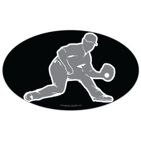 Baseball Oval Car Magnet Fielder