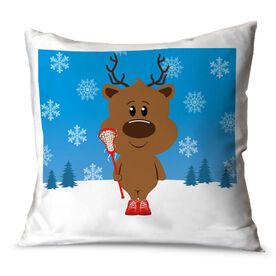 Girls Lacrosse Throw Pillow Reindeer Laxer