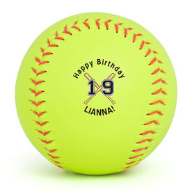 Personalized Softball - Personalized Happy Birthday