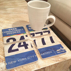 Personalized Stone Coaster Set of Four - BibCOASTERS Your Race Bib on Set of 4 Coasters