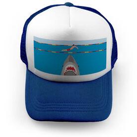 Swimming Trucker Hat - Shark Attack (Guy Swimmer)