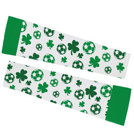 Soccer Printed Arm Sleeves - Shamrock All Over Pattern With Soccer Balls