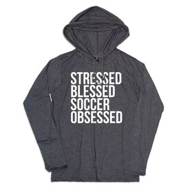 Men's Soccer Lightweight Hoodie - Stressed Blessed Soccer Obsessed