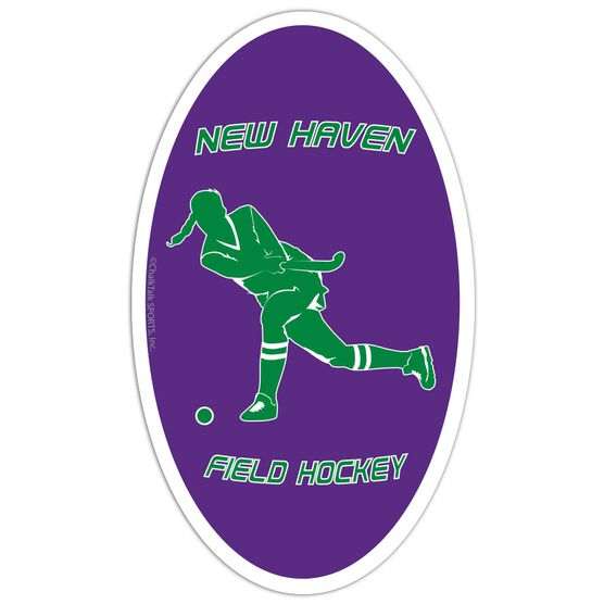 Field Hockey Oval Car Magnet Personalized Shooting Player