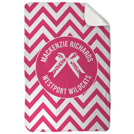 Cheerleading Sherpa Fleece Blanket - Personalized Bow with Chevron