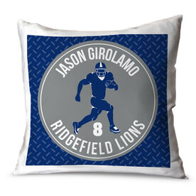 Football Throw Pillow Personalized Football Team with Running Back Silhouette