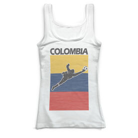 Soccer Vintage Fitted Tank Top - Colombia Soccer