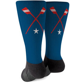 Crew Printed Mid-Calf Socks - Crossed Oars Team Colors