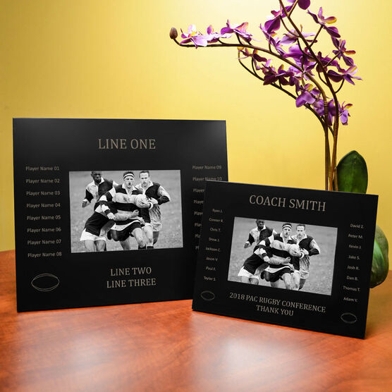 Rugby Engraved Picture Frame - Team Name With Roster (Coach)