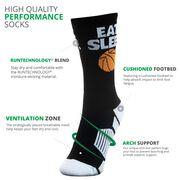 Basketball Woven Mid-Calf Socks - Eat. Sleep. Basketball Ball