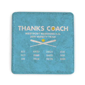Softball Stone Coaster - Thanks Coach Roster