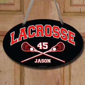 Lacrosse Oval Room Sign Personalized Lacrosse with Crossed Sticks