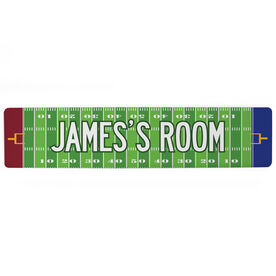 "Football Aluminum Room Sign - Personalized Football Room (4""x18"")"