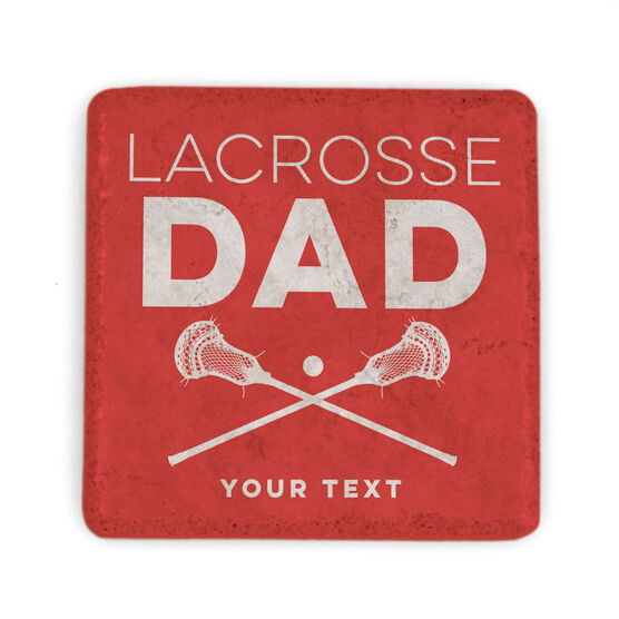 Guys Lacrosse Stone Coaster - Personalized Lacrosse Dad