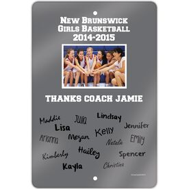 """Basketball Aluminum Room Sign Personalized Thanks Coach with Team Signatures (18"""" X 12"""")"""