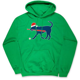 Baseball Hooded Sweatshirt - Play Ball Christmas Dog
