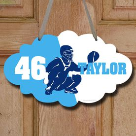 Baseball Cloud Sign Personalized Catcher Silhouette