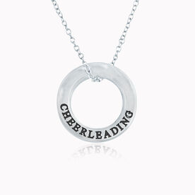 Sterling Silver Cheerleading Message Ring Necklace