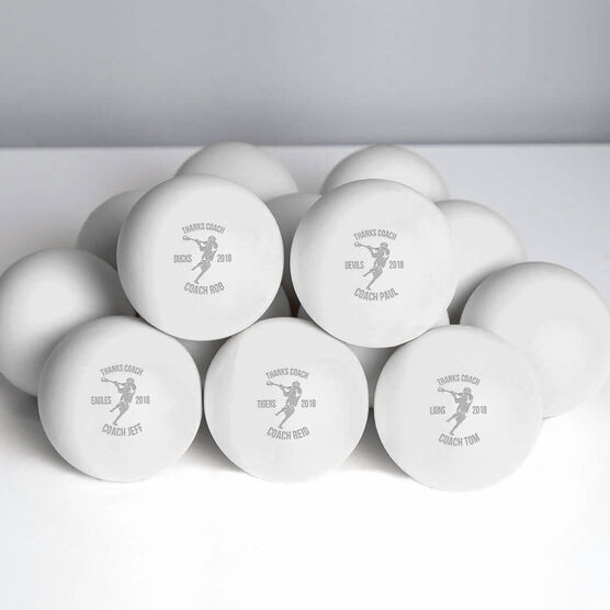 Lacrosse Thanks Coach Player Male Laser Engraved Lacrosse Ball (White Ball)