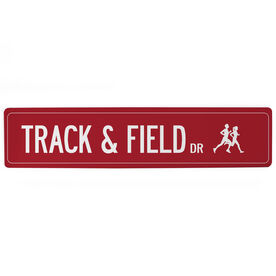 "Track and Field Aluminum Room Sign - Track And Field Drive (4""x18"")"