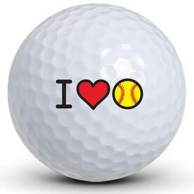 I Heart Softball Golf Balls