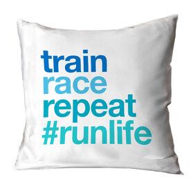 Running Throw Pillow - Train Race Repeat