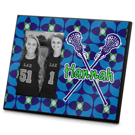 Girls Lacrosse Photo Frame Personalized Girl Lacrosse Sticks with Floral Pattern