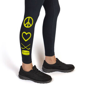 Girls Hockey Leggings Peace Love Hockey