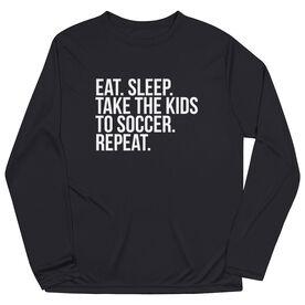 Soccer Long Sleeve Tech Tee - Eat Sleep Take The Kids To Soccer