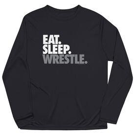 Wrestling Long Sleeve Performance Tee - Eat. Sleep. Wrestle.