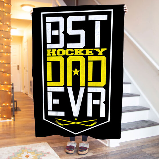 Hockey Premium Blanket - Best Dad Ever Shield