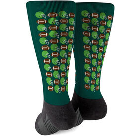 Football Printed Mid-Calf Socks - Football Pattern