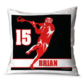 Guys Lacrosse Throw Pillow Personalized Jump Shot Silhouette