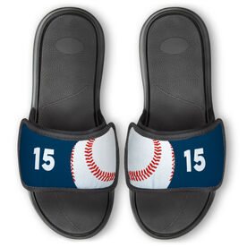 Baseball Repwell™ Slide Sandals - Ball and Number Reflected