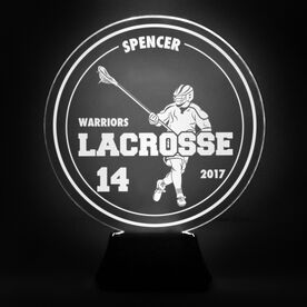Guys Lacrosse Acrylic LED Lamp Round Defenseman With 3 Lines and Number