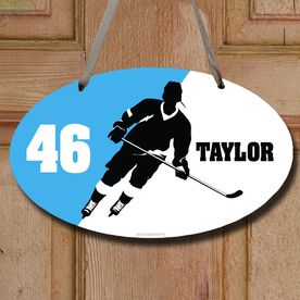Hockey Oval Sign Personalized Hockey Silhouette